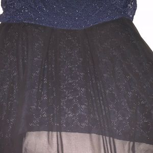 Navy and black lace  hi-lo top size 22/24